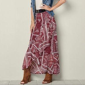 Venus Lace Ruffle Aztec Print Maxi Skirt